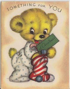 Vintage Greeting Card Christmas Bear Cute 1950s Rust Craft E203 | eBay