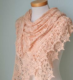 Peach lace knitted cotton shawl with lace crochet border. $116,00, via Etsy.