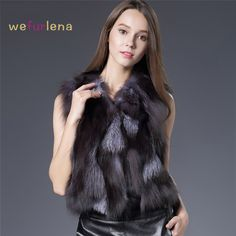 Silver Fox Fur Vest Real Fur Coat Fashion Women Natural Coats Short Style Real Fox Fur Vest Cute Spell Fox Fur Gilet