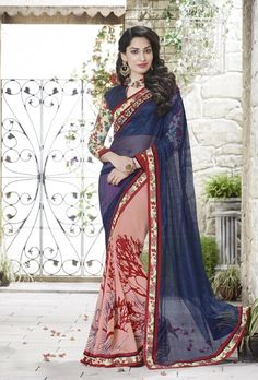 Peach and blue designer saree with blouse