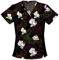 """Hello Kitty """"Dots Of Butterflies"""" scrub top from The Uniform Outlet"""