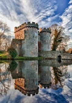 Image Detail for - Ancient Whittington Castle in Shropshire, England reflecting in a calm .