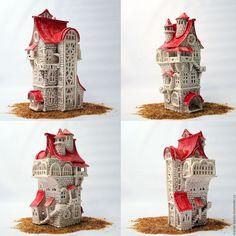 """Купить Подсвечник """"Замок Андерсен"""" - коричневый, Керамика, замок, домик, сказочный домик, сказка, легенда"""