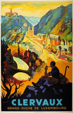 Clervaux Grand Duchy of Luxembourg 1930s - original vintage poster by R Gerson listed on AntikBar.co.uk