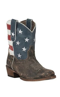 Roper Women's Sanded Brown with American Flag Short Top Snip Toe Western Boot