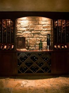 Signature Custom Homes - Wine Room - Wine Rack - Wine Presentation - Wine Tasting - Wine Display - Wine Cellar - Wine Storage Caves, Wine Cellar Basement, Basement Bar Designs, Basement Ideas, Casa Loft, Home Wine Cellars, Wine Cellar Design, Wine Wall, Wine Cabinets