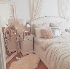 Girly bedroom ideas for small rooms small room design ideas for Glam Bedroom, Home Bedroom, Girls Bedroom, Master Bedroom, Feminine Bedroom, Pretty Bedroom, Bedroom Vintage, Mirror Bedroom, Stylish Bedroom