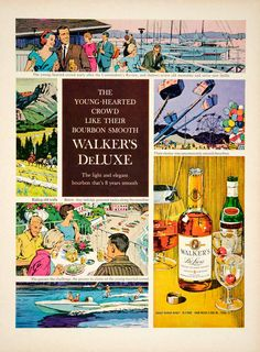 1963 Ad Walker's DeLuxe Bourbon Whiskey Young-hearted Crowd Waterskiing Fair