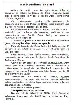 Blog Professor Zezinho : Independência do Brasil - Texto