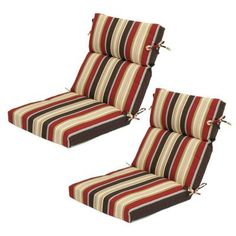 Plantation Patterns Majestic Stripe Patio Dining Chair Cushion At The Home Depot