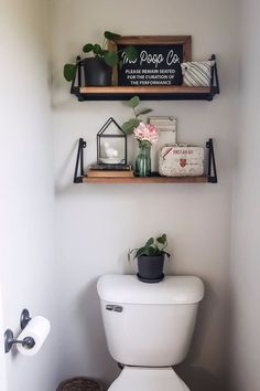 Floating shelves give are exciting because they give organization space and decor options. If your guest bathroom is feeling boring, adding a floating shelf is a great way to add some fun decor items. They're also super handy for storing toiletries and paper towels. Pick a floating shelf style that matches your existing decor like farmhouse, modern, midcentury, coastal, e.t.c.