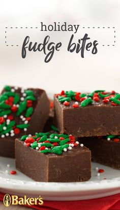 Don't be fooled by the festive appearance of these fudge bites. Underneath the holiday sprinkles lies seriously chocolatey, supremely creamy perfection. New Year's Desserts, Holiday Desserts, Holiday Baking, Holiday Treats, Holiday Recipes, Christmas Recipes, Christmas Fudge, Christmas Deserts, Christmas Cooking