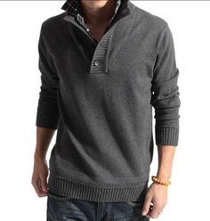 Men's Stand Collar Faux Sweater