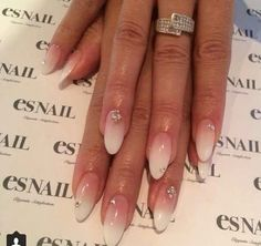 * Winter inspo * Ombre * Glitter * Almond shaped nails * French