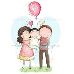 Whimsical digital illustration of a cute little family.  The illustrations will be printed on satin, acid-free Epson premium photo paper with