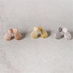 Pineapple Earrings, Pineapple Studs, Rose Gold Pineapples, Silver Pineapple, Gold Pineapple, Fruit Earrings, Minimalist Studs by 3rdTimeCharms on Etsy
