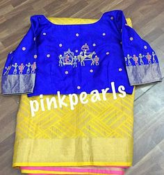 Saree Blouse Neck Designs, Simple Blouse Designs, Saree Painting Designs, Mirror Work Blouse, Maggam Work Designs, Designer Blouse Patterns, Blouse Models, Fancy Sarees, Saree Dress