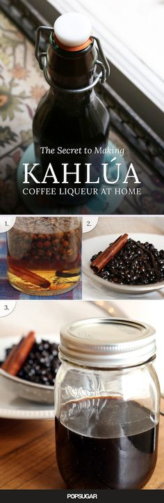 Kahlúa Coffee Liqueur 1 ml) bottle vodka or white rum 1 cups dark rum, like Pampero 1 cups sugar pound whole coffee beans 1 vanilla bean 1 cinnamon stick 1 tablespoon cocoa nibs, optional 1 slice of orange peel, optional Homemade Kahlua, Homemade Alcohol, Homemade Liquor, Homemade Liqueur Recipes, Kahlua Recipes, Homemade Food Gifts, Coffee Recipes, Fun Drinks, Yummy Drinks