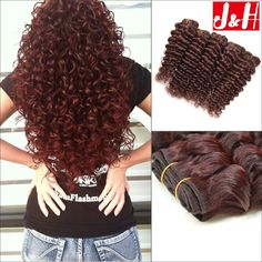 Quality Brazilian Human Hair Weaves Human Hair Extensions Deep Wave Deep Curly Red Hair Bundles Cheap Burgundy Hair with free worldwide shipping on AliExpress Mobile Curly Human Hair Extensions, Cheap Hair Extensions, Human Hair Wigs, Red Hair With Lowlights, Hair Weft, Hair Weaves, Curly Sew In Weave, Burgendy Hair, Low Lights Hair