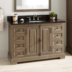Signature Hardware 435256 Gray Wash / Absolute Black Granite Chelles Single Vanity Set with Solid Wood Cabinet, Granite Vanity Top, and Semi-Recessed Sink - Right Side Faucet Hole Vessel Sink Vanity, Wood Vanity, Vanity Cabinet, Brown Bathroom Paint, Brown Bathroom Decor, Bathroom Ideas, Semi Recessed Sink, Granite Vanity Tops, Solid Wood Cabinets