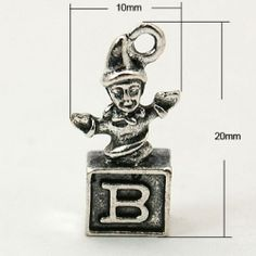 1 x Antique Silver Tibetan Style Jack in Box Charm - 20mm