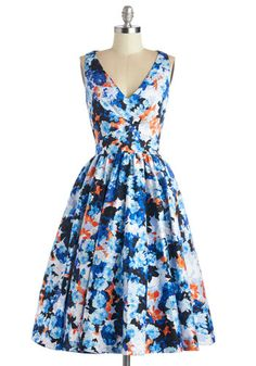 Picture Perfection Dress - Multi, Floral, Party, Fit & Flare, Sleeveless, Summer, Woven, Better, V Neck, Exposed zipper, Pockets