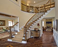 Staircase up to upper level - exposed (not nec. curving, but it's nice). Toll Brothers The Duncan Foyer Staircase Makeover, Staircase Railings, Curved Staircase, Stairways, Winding Staircase, Staircase Remodel, Grand Staircase, Foyer Design, Railing Design