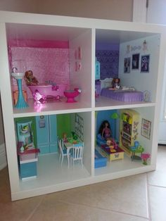 The reveal at her birthday party! Scroll down to see more and read all about it! I am 33 years old and I love all things Barbie. Ive always wanted to make a Barbie house so I was thri Dreamhouse Barbie, Barbie Doll House, Barbie Dream House, Barbie Dolls, Diy Kids Furniture, Diy Barbie Furniture, Dollhouse Furniture, Furniture Sets, Barbie Storage