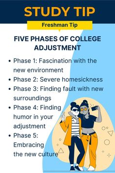 """Study Tip: If you're heading off to college know that adjusting to college life takes time for everyone. You're going to go through FIVE PHASES OF COLLEGE ADJUSTMENT: You may experience some or all of the following phases: •Phase 1: Fascination with the new environment • Phase 2: Severe homesickness • Phase 3: Finding fault with new surroundings; building stereotypes • Phase 4: Finding humor in your adjustment •Phase 5: Embracing the new culture; it becomes your """"normal"""" environment Study Tips For Students, Freshman Tips, Reading At Home, Phase 4, Time Management Skills, New Environment, Student Success, Study Habits, Good Grades"""