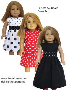 Pattern AG4D02A (Dress Set) - pattern bundle. 18 inch doll clothes sewing patterns.