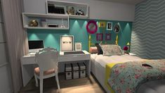 Online Home Decorating Software Dream Rooms, Dream Bedroom, Girls Bedroom, Bedroom Decor, Blue Bedroom, Bedroom Ideas, Beautiful Bedrooms, New Room, House Rooms