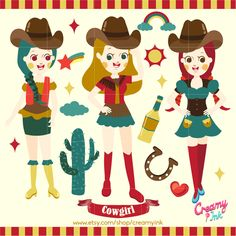 The cowgirl digital clip art are perfect for cowboy party invitations, scrapbooking and many more. #clipart #vector #design See more at CreamyInk.etsy.com