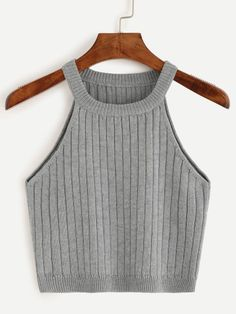 Online shopping for Grey Knitted Tank Top from a great selection of women's fashion clothing & more at MakeMeChic. Cute Comfy Outfits, Trendy Outfits, Summer Outfits, Teen Fashion Outfits, Girl Outfits, Women's Fashion, Mode Kpop, Vetement Fashion, Mein Style