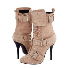 Shoespie Rhinestone Lace up Buckles Ankle Boots