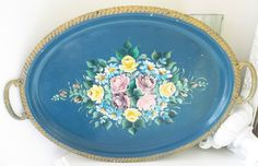 Beautiful French Cottage Blue Vintage Hand Painted Roses Toleware Tole Tray