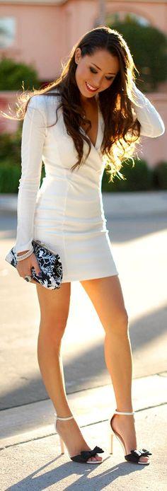 long-sleeved white #dress<3<3