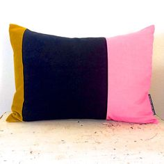 "Decorative Throw Pillow Cover 13""x18"" Lumbar Cushion Color Block Blush Pale Pink Black Vintage Gold Velvet Fabric Modern Home Decor"