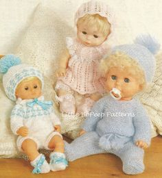Dolls clothes knitting pattern 12-14-16in. PDF by BoPeepStore