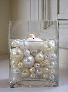 candle jar & lace centerpiece | Reception Centerpieces