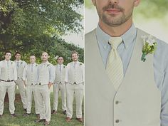 Groom up close and then all the groomsmen behind him