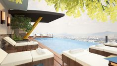 Spending your leisure time swimming at this modern and sleek infinity pool with a picturesque view of the Cebu City skyline several floors above ground is remarkably heart-pounding yet exciting. Eco Garden, Cebu City, Home Inc, Lots For Sale, Property Development, Real Estate Houses, Condominium, Swimming Pools, The Unit