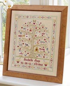 Tree A-Z Girl Birth Sampler Cross Stitch Kit £28.25 | Past Impressions