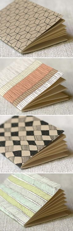 Cute diy Gift: Personalize a set of inexpensive moleskine cardboard books as a special gift! Add some fabulous pens for grownups or colorful markers for kids! cover ideas homemade handmade journals New Jotters Moleskine, Paper Crafts, Diy Crafts, Handmade Books, Handmade Notebook, Handmade Journals, Handmade Rugs, Handmade Crafts, Book Binding