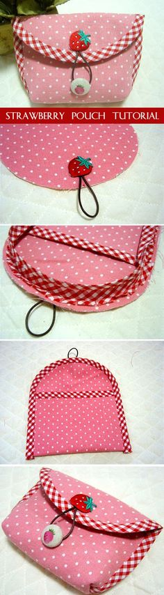 Strawberry pouch. DIY Tutorial Instruction. Purse with a button clasp. http://www.handmadiya.com/2016/01/strawberry-pouch-tutorial.html
