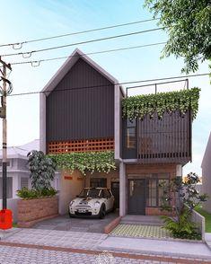 Tropical House Design, Modern Small House Design, House Front Design, Tiny House Design, Facade Design, Exterior Design, Minimalis House Design, Dream House Exterior, Modern Architecture House