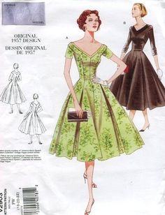 Vogue 2903 Retro 1950's 1957 Cocktail Mad Men Dress 6 8 10 Reproduction Old Store Stock Uncut by LanetzLivingPatterns on Etsy
