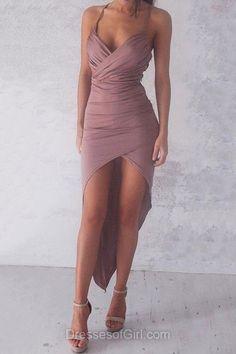 Sheath/Column V-neck Jersey Asymmetrical Ruffles Hot High Low Prom Dresses #DGD020103524