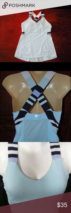 Lululemon Push Your Limits Tank Push Your Limits tank- Aruba aquamarine/discover stripe white deep indigo. Built in bra with pockets for pads- no pads included. Immaculate condition, size 6, chafe resistant seams. Designed for yoga, run. lululemon athletica Tops