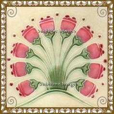Ceramic Tile 6 inch square Vintage Art Nouveau by SublimeTiles