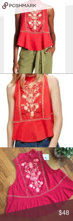 NWT Free People Flora Tank Color Red. Size M. More details coming soon. Embroidered lace detail. Free People Tops Tank Tops